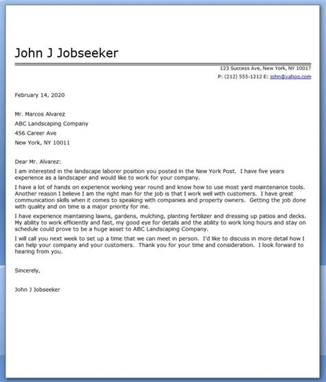 cover letter for gardening guide and how to do landscaping resumes