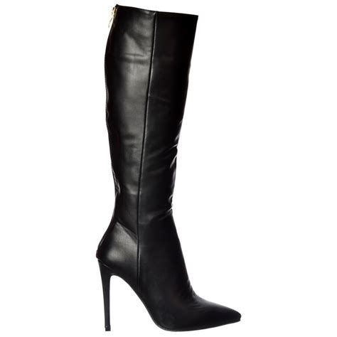 knee high black heel boots shoekandi stiletto heel pointed toe knee high boots