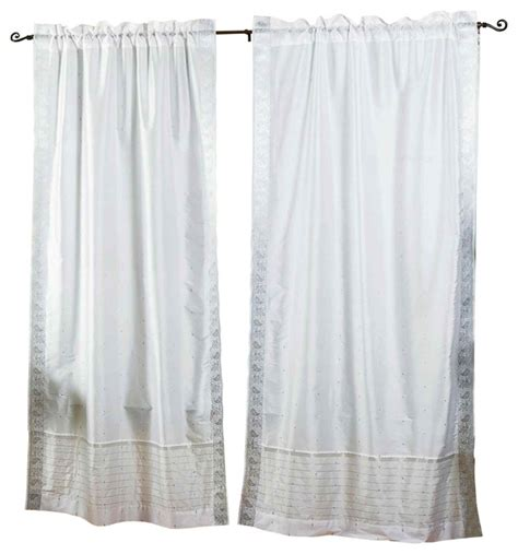 Silver Sheer Curtains White Silver Rod Pocket Sheer Sari Curtain Drape Panel 60w X 63l Pair Eclectic Curtains