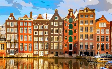 Large House Plans by Amsterdam Canal Houses Painting By Lulu Escudero