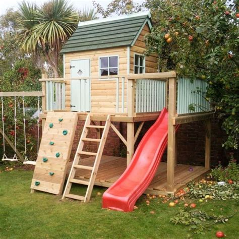wooden playhouse with swing and slide 20 jolly good ideas of luxurious outdoor playhouse