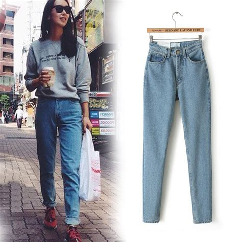 aliexpress jeans free shipping 2016 new slim pencil pants vintage high