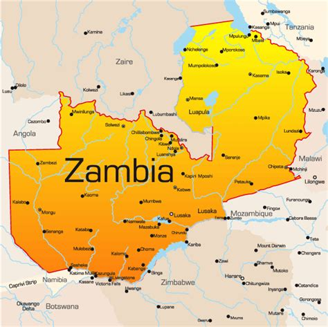 zambia map zambia map showing attractions accommodation