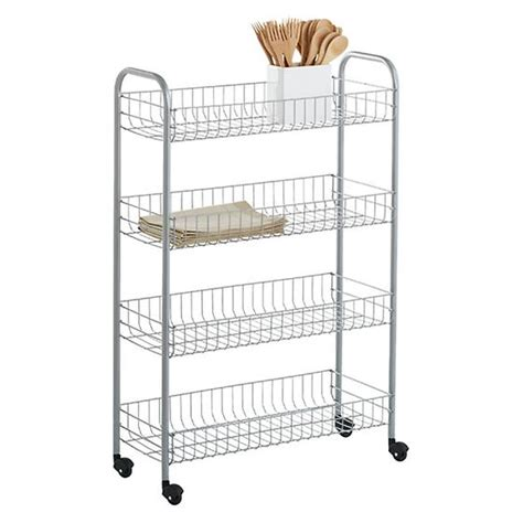 Slim Rolling Cart With Drawers Silver 4 Tier Slim Rolling Cart The Container Store