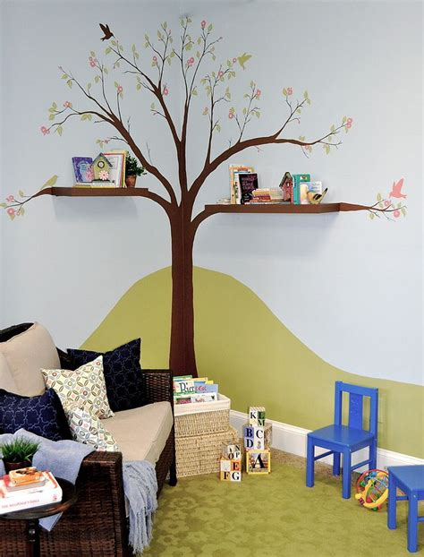painted tree and cool shelves create a reading