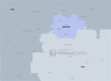 area code map list of colorado area codes