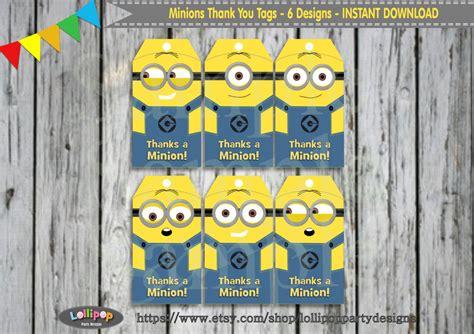 printable minion tags 6x minions cute thank you tags printable by