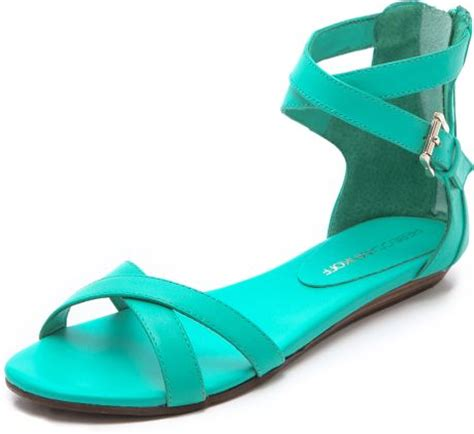 teal flat shoes minkoff bettina flat sandals in green teal lyst