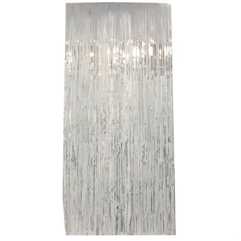 silver foil curtains curtain tinsel foil 90 x 200cm silver pk1 tinsel werks