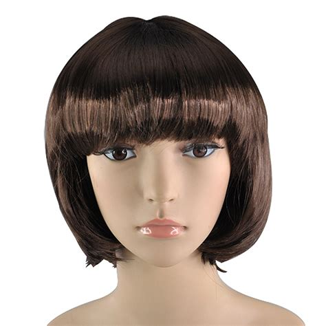 wigs for women over 60 ct coffee fancy short bob costume fake hair babe wig ladies