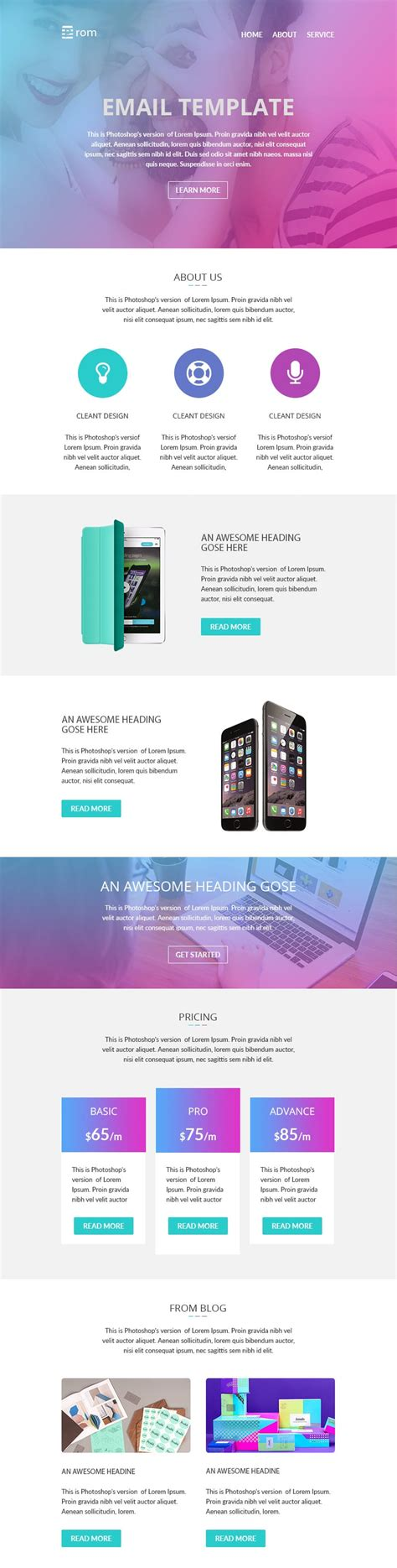 Free Email Newsletter Templates Psd 187 Css Author Newsletter Templates