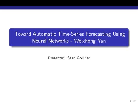 Time Series Financial Market Forecasting 1 time series forecasting using neural nets gnnns