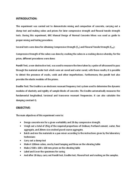 Concrete Mixing and Testing Lab Report | Concrete