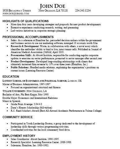 resume types and sles