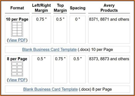 Avery Business Card Template 8873