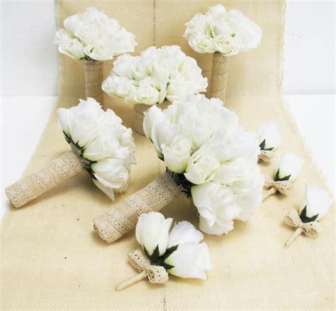 Wedding Bouquet Sets by Wedding Bouquet Set 9 Pieces Set White Silk Roses Bleached