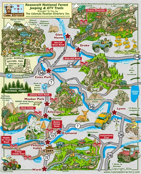 map of colorado lyons atv and jeeping map for the roosevelt national forest