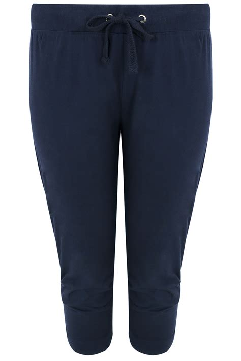 Kode 302 Jogger Jersy 1 navy basic cotton jersey cropped joggers with fold detail plus size 16 to 36
