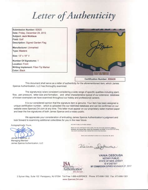 National Insurance Letter J lot detail 2000 s nicklaus signed the masters garden flag jsa letter