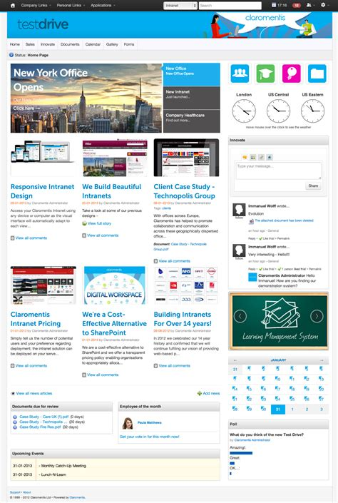 javascript portal layout free intranet demo site with business applications and