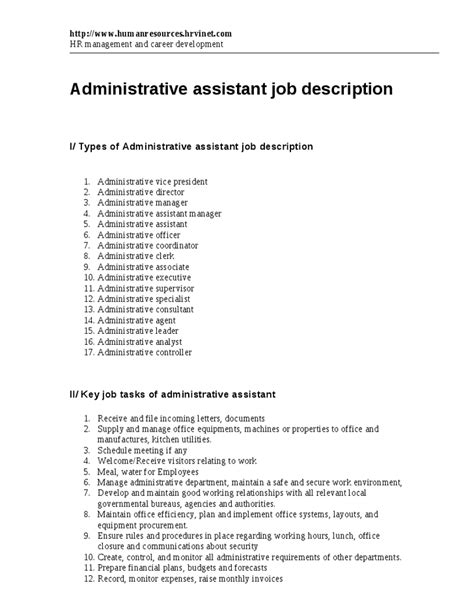 Administrative Manager Description by Administrative Assistant Description Office Sle Slebusinessresume
