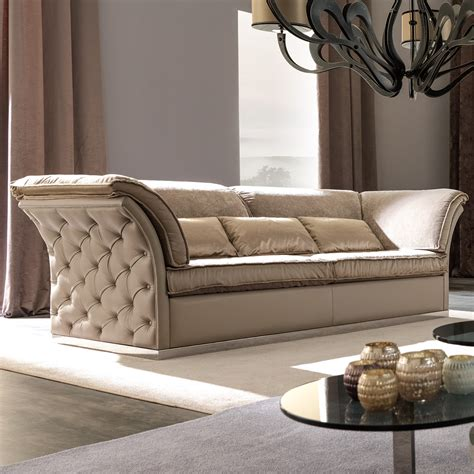 italian designer leather button upholstered sofa