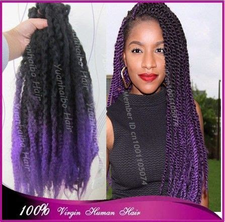 ombre kinky twists stock 20inch folded black purple two tone color synthetic