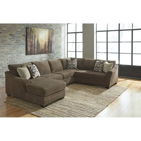 ashley 3 piece sectional ashley justyna 3 piece right facing sectional in teak