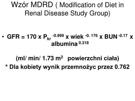 Modification Of Diet In Renal Disease Mdrd Study by Ppt Przewlekła Niewydolność Nerek Powerpoint