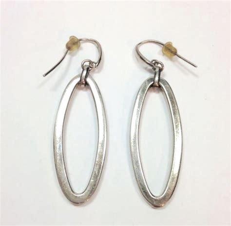 Sterling Silver Hoop Drop Earrings large modern oval hoop earrings sterling silver open drop