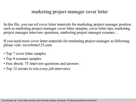 project manager cover letter sles marketing project manager cover letter