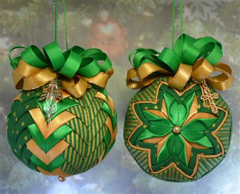 Patchwork Ornaments - set of no sew quilted ornaments done in gold and green