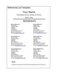 sle reference list template for resume