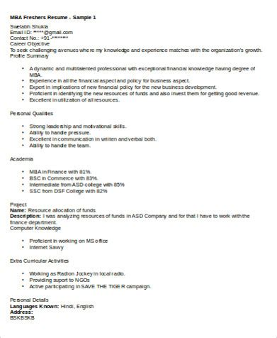 sle resume format for mba marketing fresher 6 sle mba marketing resumes sle templates