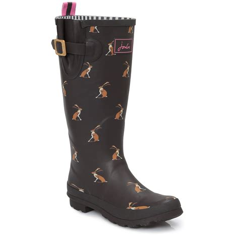 joules womens boots joules womens brown hare print wellington knee high boots