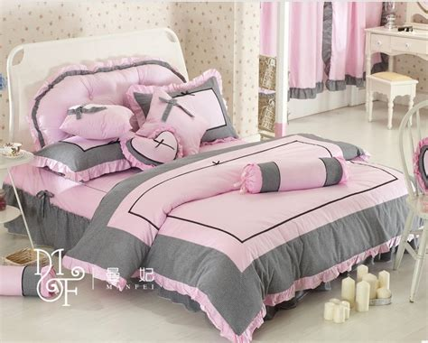 girls luxury bedding princess korean style grey luxury girls bedding sets pink