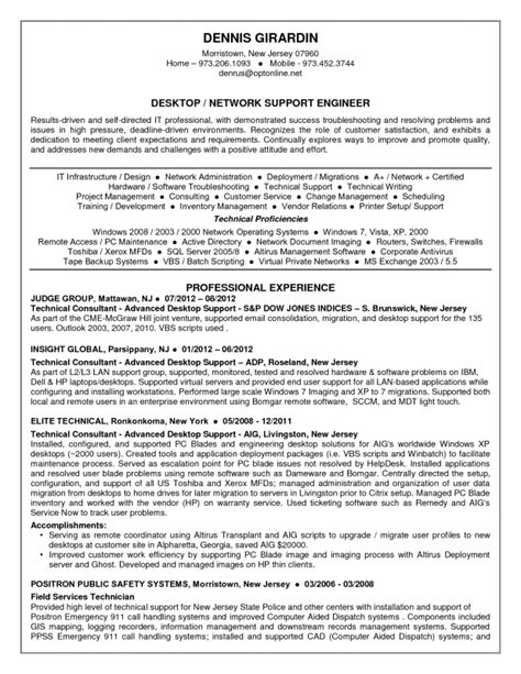 resume format for desktop support engineer desktop support resume sle jennywashere