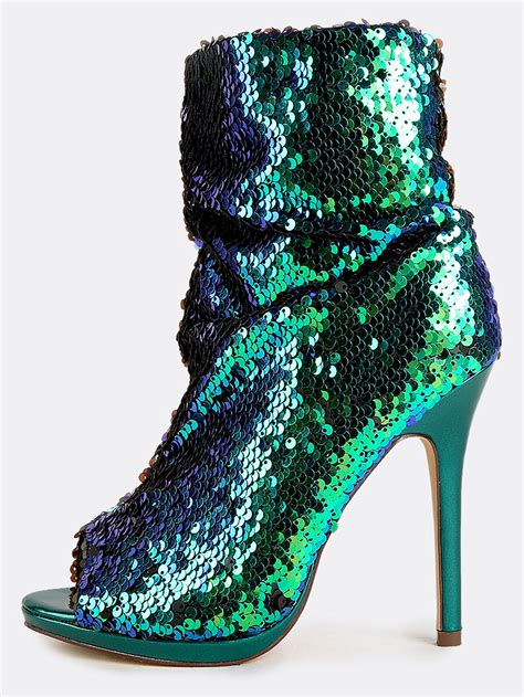 sequin shoes mermaid sequin stiletto boots green hologram makemechic