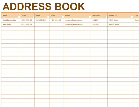 telephone address book template address book