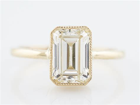 Emerald Cut Ring by Engagement Ring Modern 2 01 Emerald Cut In 14k