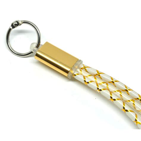 kabel fiber key ring 2 in 1 micro usb lightning golden jakartanotebook