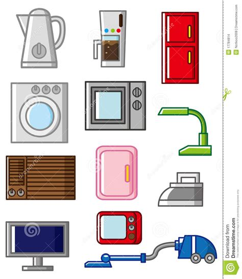 vintage home appliances icons stock vector illustration cartoon home appliances icon stock vector illustration