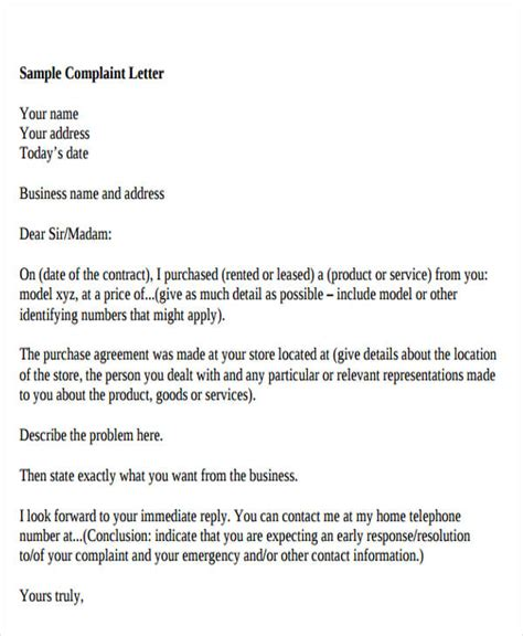 Business Letter In Response To A Complaint 27 complaint letter formats free premium templates