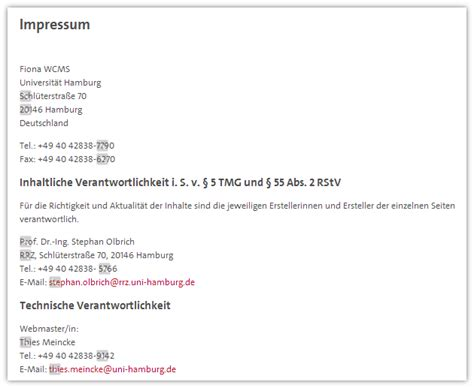 Muster Vorlagen Impressum Impressum Vorlagen Universit 228 T Hamburg