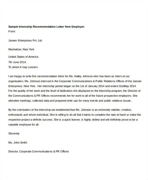 Recommendation Letter Template For Internship 37 Recommendation Letter Format Sles