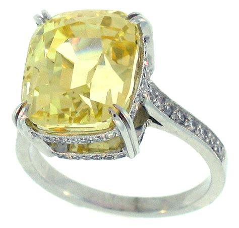 golden yellow emerald cut sapphire ring