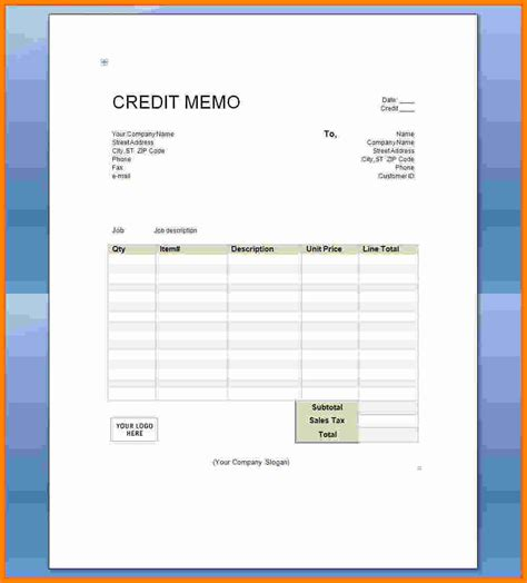 4 credit note format in word mail clerked
