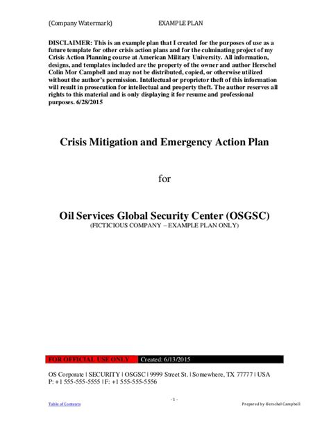 Exle Crisis Action Plan 1 Crisis Management Plan Template 2