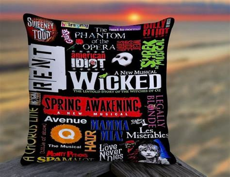broadway themed bedroom broadway musical collage pillow musical theater themed
