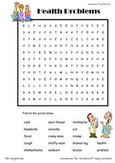 free printable word searches nutritionally speaking health problems word searches 1st 3rd grade worksheet